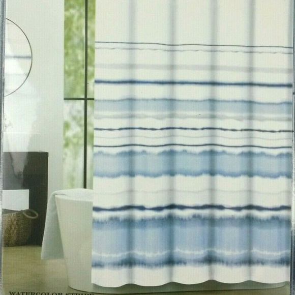 Max Studio Bath Fabric Shower Curtain Blue Gray White Poshmark